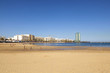 beautiful beach in Arrecife with the town in the background