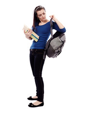 Student girl putting on her backpack