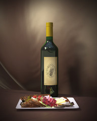 wine snack 3d illustration