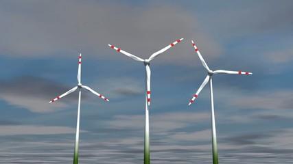 Zeitraffer mit langsamen Windanlagen