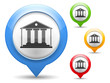 Map marker with icon of a museum, vector eps10 illustration
