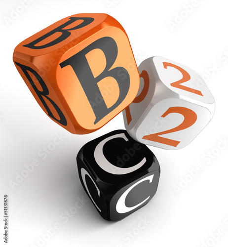 b2c orange black dice blocks