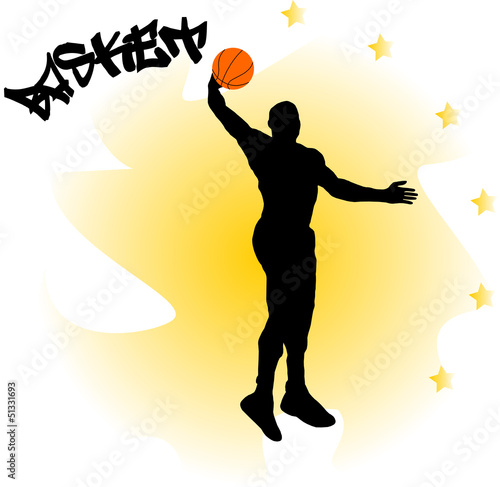 illustration of a basketball player with ball