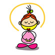 cartoon hand writing girls meditation