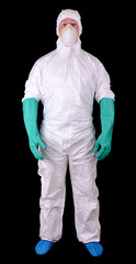 Man in full protective suit isolated on a black background