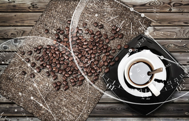 Coffee break metaphor background with beans, mug and clock