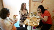 Pregnant women drink tea with cake