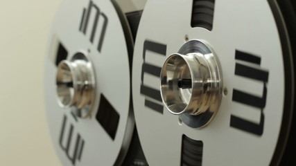 Vintage classic tape reel audio recorder, close up
