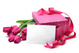 Fototapety Pink tulips,blank card and gift box