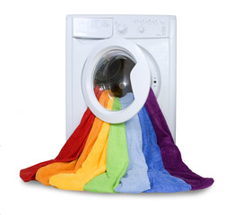 Washing machine and colorful things to wash, Isolated