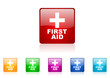 first aid vector glossy web icon set