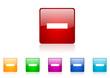 minus vector glossy web icon set