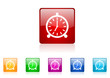 alarm clock vector glossy web icon set