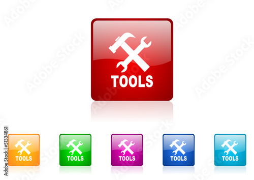 tools vector glossy web icon set