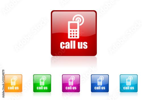 call us vector glossy web icon set