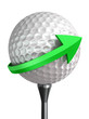 golf ball on tee and green arrow