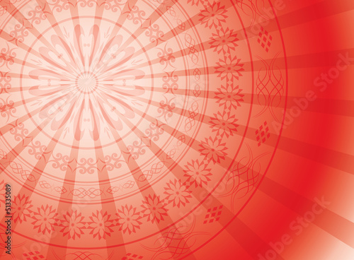 red background with round ornament and rays - vector