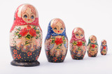 russian babushka figures on white