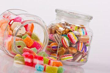 Colorful candies in the jar