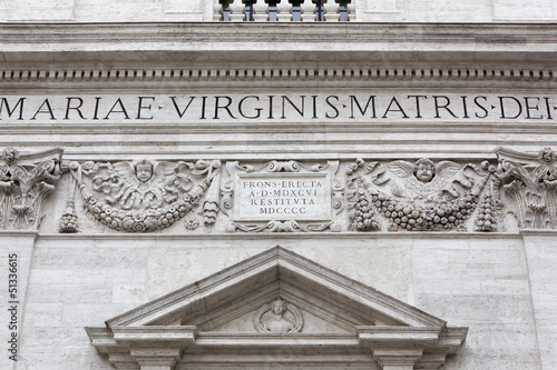 Closeup on the Facade of a 16th Century Church in Rome