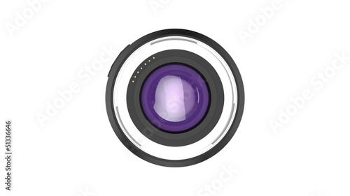 Zoom lens rotates on white background