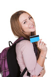 Female Student Holding Credit Card Over White Background