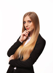Cute young business woman isolated on white background