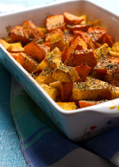 Pumpkin gratin with olive oil and herbs