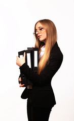 Beautiful young business woman with folder of documents isolated