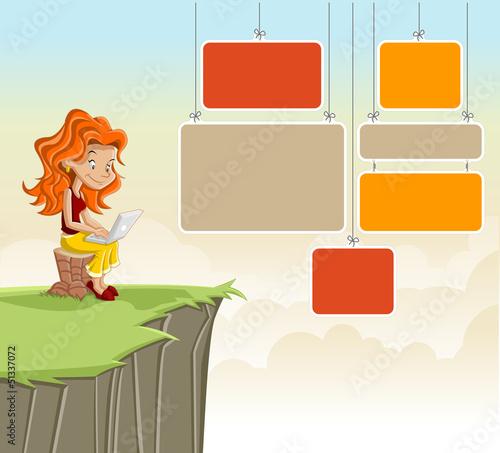 Cute redhead cartoon girl with laptop on green park