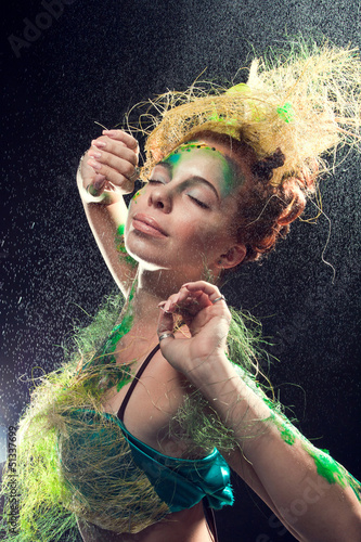 A fairy forest girl on a black background