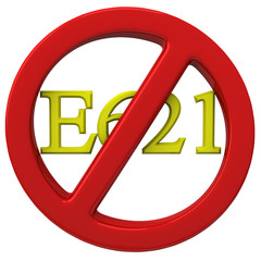 No E621 monosodium glutamate (MSG)  sign, 3d