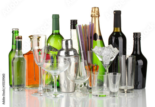 Collection of various glasses and drinks isolated on white