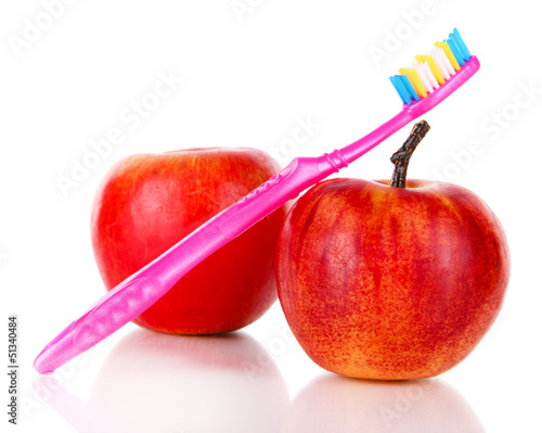Fototapeten,zahnbuerst,isoliert,weiß,äpfel