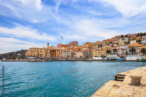 Porto Santo Stefano seafront and village. Argentario, Italy