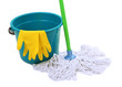 Mop, plastic bucket and rubber gloves, isolated on white