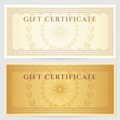 Gift Voucher (coupon) template with border. Gold, vintage color