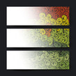 Collection of three waves banner designs, vector illustration, E