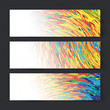 Collection of three banner designs,  spectrum colorful lines, ve