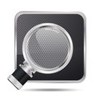 magnifying glass icon and grill texture