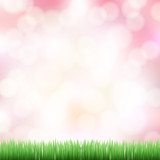 spring pink bokeh background with green grass