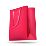pink shopping bag on white