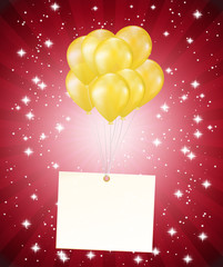balloons and a card on red background
