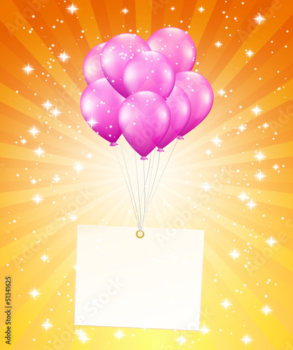 balloons and a card on background with stars