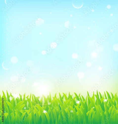 spring background with grass and light effects