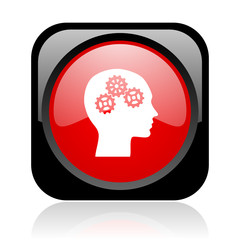 head black and red square web glossy icon