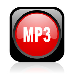 mp3 black and red square web glossy icon