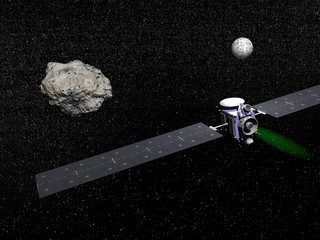 Dawn spacecraft, Vesta and Ceres - 3D render