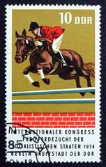 Postage stamp GDR 1974 Thoroughbred Hurdling, Race Horse