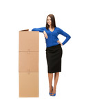 businesswoman with big carton boxes